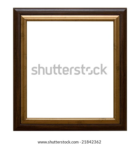An old wooden frame isolated on white