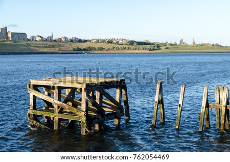 An Old Wooden Jetty on the River Tyne at South Shields #762054469