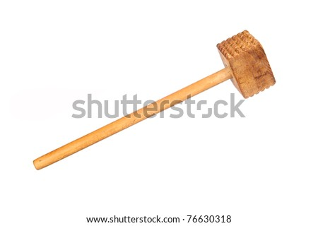 An old wooden meat tenderizing hammer isolated on white