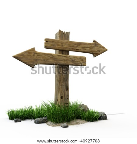 An old wooden road sign