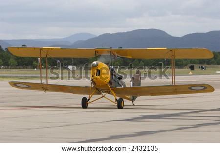 An old World War one bi-plane - stock photo