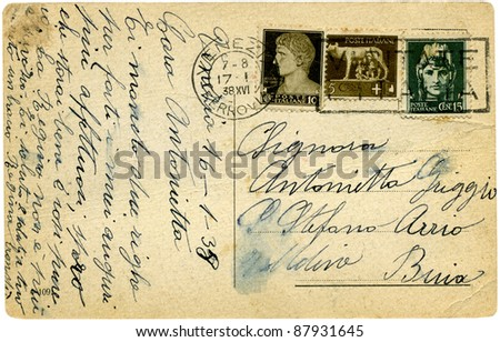 An old yellowed postcard, Venice,Italy. Isolated on white background.