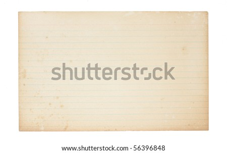 An old, yellowing, lined index card. Card is stained, spotted and worn in places.