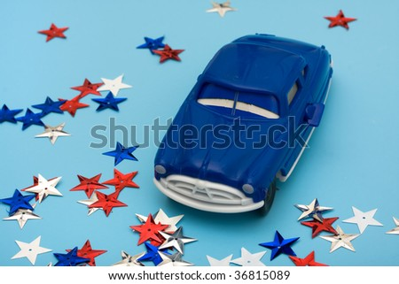 An older car and colourful stars on a blue background, American bailout car money