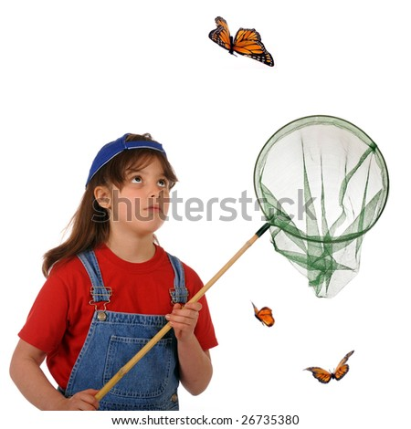 An older elementary girl stalking a large monarch butterfly.