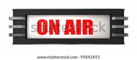 An on the air sign in an art deco style isolated on white - stock photo