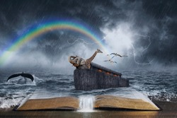 An open Bible with the story of Noah's ark.