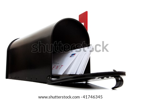 An open black mailbox with letters on a white background