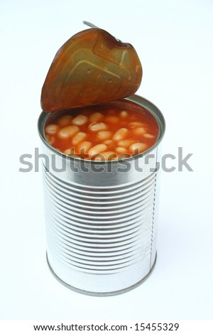 An open can of beans - stock photo