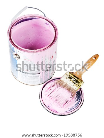 An open can of pink paint with a loaded brush isolated with a clipping path