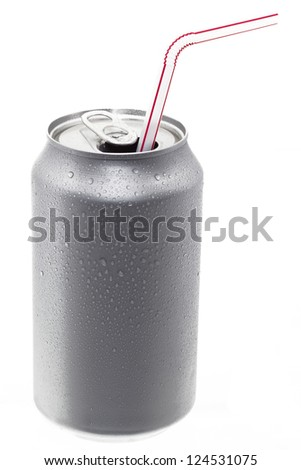 An open can of pop with a straw