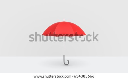 An open classic red umbrella with a handle vertically placed on white background. Rainy weather. Protection and safety. Umbrellas and parasols. #634085666