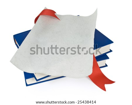 An open diploma with red ribbon over blue books. Isolated on white.