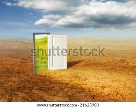 An open door revealing a different dimension. Digital illustration.