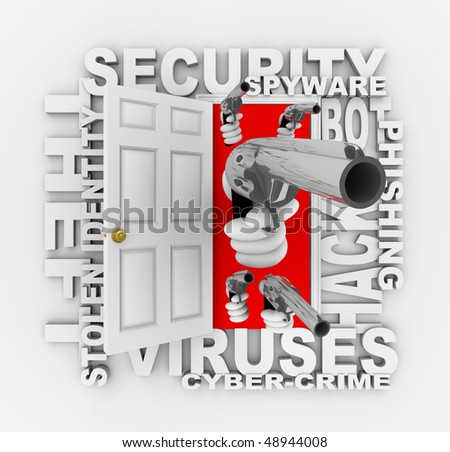 An open door with hands holding guns surrounded by words like cyber-crime, stolen identity, virus, phishing, and security