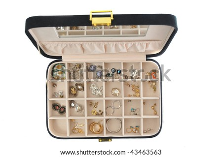 An open jewlery box with old jewelry inside isolated on a white background