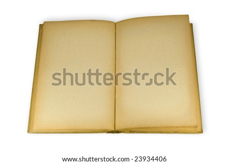 An open old book with blank pages