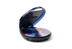 An open old CD player with a disk is isolated on a white background. The concept of retro technology.