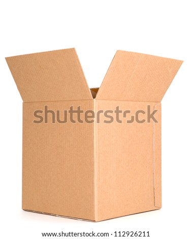 An open packing box on white