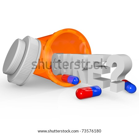 An open prescription medicine bottle on its side and spilled, with the word Cure and question mark