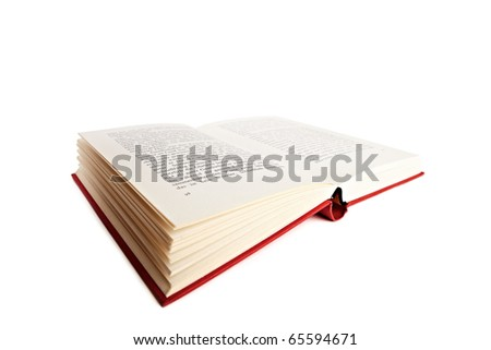 An open red book over white backround