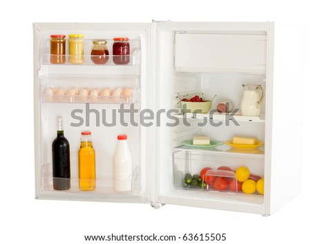 An open refrigerator isolated on white.