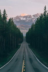 An open road leads to the Grand Teton's mountain range, rising in the distance beyond a thick pine forest. The last rays of sunlight shine on the mountain. Photo shot vertically to include more road.