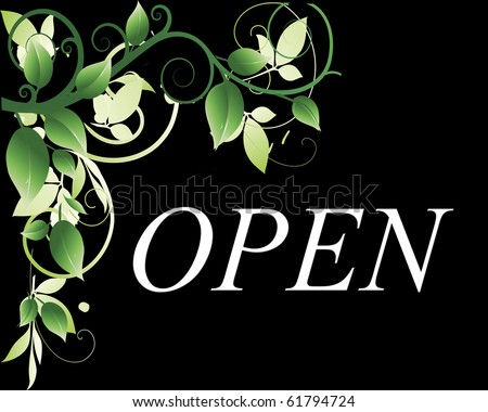 An open sign to hang in the front of a store,