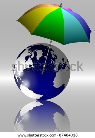 An open umbrella suspended in the air protecting Earth / Earth and umbrella