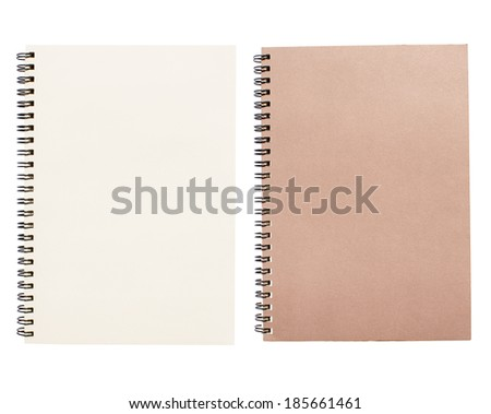 An open vintage sketchbook or notebook. Isolated on white background.  #185661461