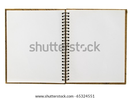 An opened blank white page of recycle spiral sketching book isolated on white background