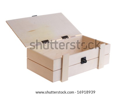 An opened wooden box isolated on white