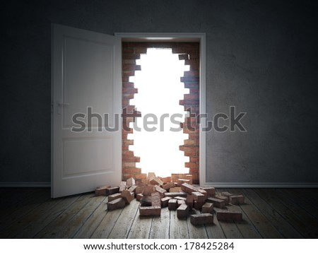 An opening in a brick wall blocking the doorway