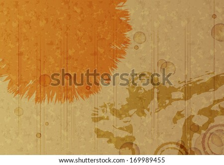 An orange blot on a brown background with Jesus on the cross