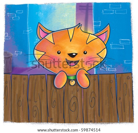An orange cat peeking over a wooden fence