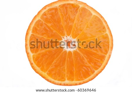 An orange cut in half on white background