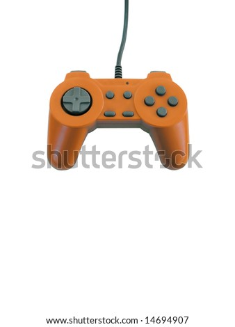 An orange gamepad isolated over white with plenty of copy space.  This file includes the clipping path.