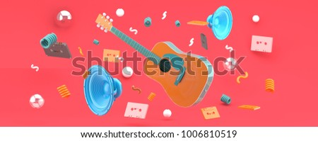 An orange guitar and blue speakers amid balls and tape on a pink background 3D render. stock photo