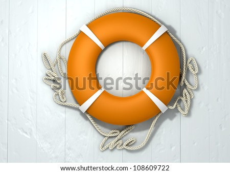 An orange lifebuoy with the rope around it spelling out the words save the date