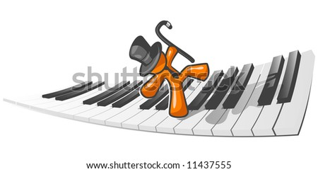 An orange man dancing across a piano as an abstract concept in musical enjoyment.