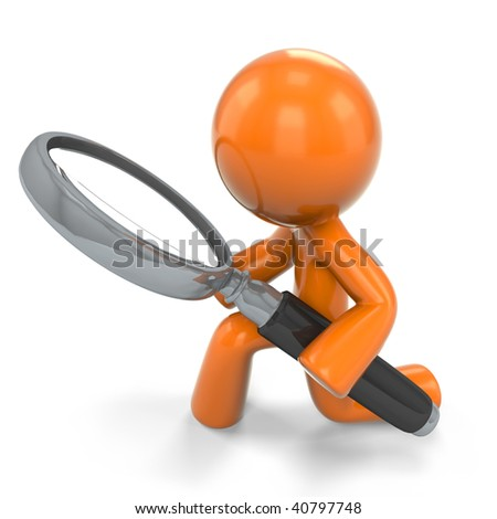 An orange man detective, holding a magnifying glass, looking closely at something, as one tends to do with a magnifying glass.Based on popular original vector design