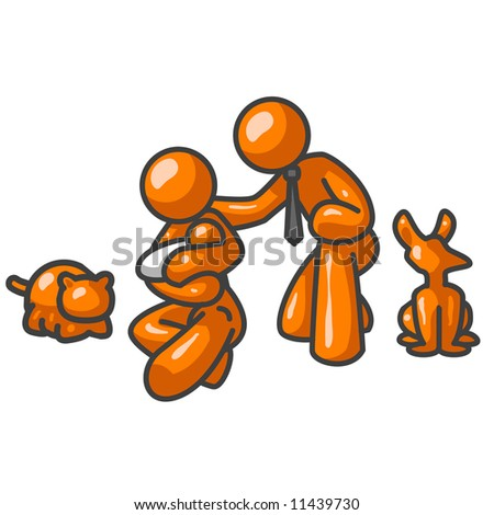 An orange man family with a dog and cat looking at the viewer.