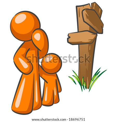 An orange man parent and his child at a crossroads. A good concept in making choices as a parent. - stock photo