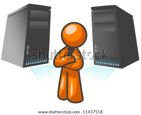 An orange man standing confident in front of two large computer servers.