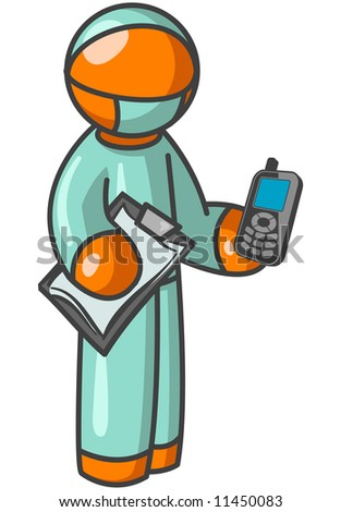 An orange man surgeon holding a cellular phone and clipboard.