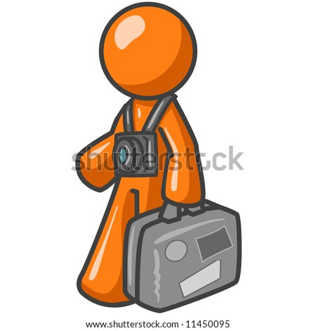 An orange man tourist carrying his suitcase with a camera around his neck.