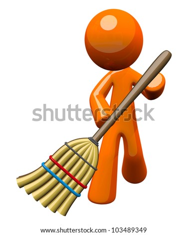 An orange man with a stylized broom, sweeping and cleaning up. Great cleaning services image, janitorial, or simply a concept denoting basic tasks and chores everyone is expected to keep up with.