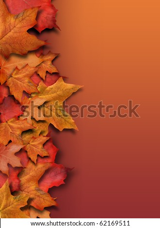 An orange, red fall background border for the season. Leaves are piled up on the side of the frame with copyspace for your text. Can be used as a Halloween or Thanksgiving image too.