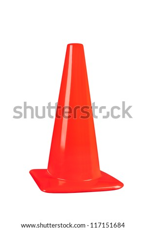 An orange street safety cone isolated on white