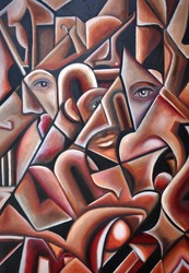 An original cubism artwork piece with geometric black lines and shades of red and brown with hidden eyes and faces.